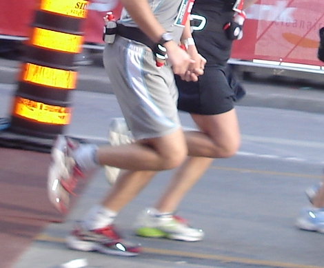 finishing our first race together, hand-in-hand, stride-for-stride (2007)